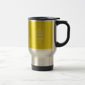Keep Calm and Carry On Hansa Yellow Med White Text Travel Mug