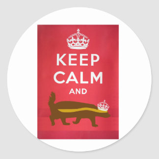 Keep Calm and Carry On Honey Badger Classic Round Sticker