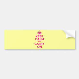 Keep Calm And Carry On Hot Pink Best Price Car Bumper Sticker