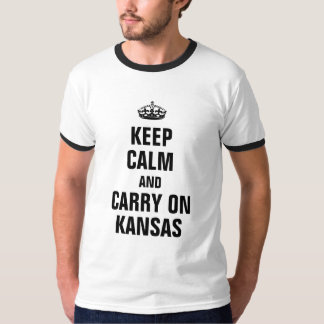 Keep calm and carry on Kansas T-shirts