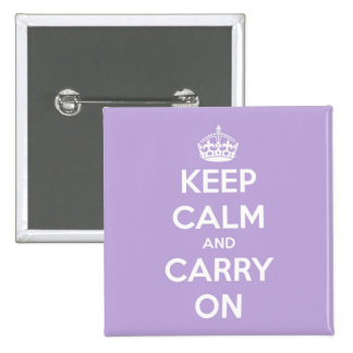 Keep Calm and Carry On Lavender 15 Cm Square Badge