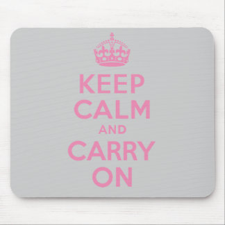 Keep Calm And Carry On. Light Pink. Best Price. Mouse Mat