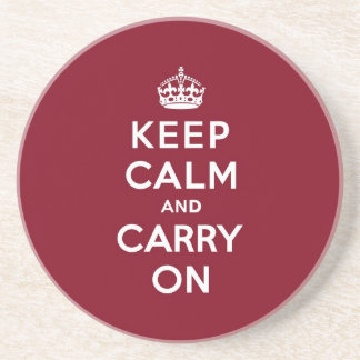 Keep Calm and Carry On Madder Lake Beverage Coasters