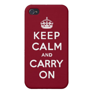 Keep Calm and Carry On Madder Lake Cases For iPhone 4