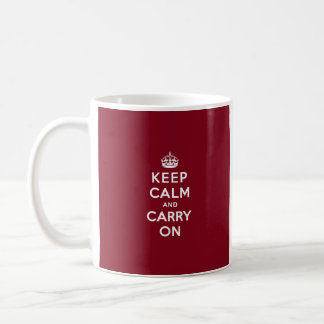 Keep Calm and Carry On Madder Lake Mugs