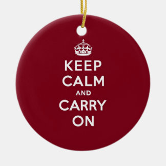 Keep Calm and Carry On Madder Lake Round Ceramic Decoration