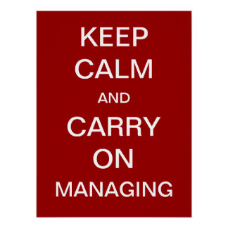 Keep Calm and Carry On Managing Funny Saying Poster