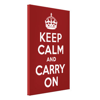 Keep Calm and Carry On Maroon Wrapped Canvas