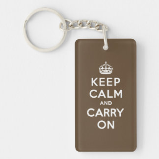 Keep Calm and Carry On - Milk Chocolate Brown Double-Sided Rectangular Acrylic Key Ring