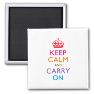 KEEP CALM AND CARRY ON Multicolored Square Magnet