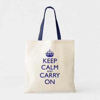 Keep Calm and Carry On Navy Blue Text Canvas Bags
