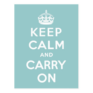 Keep Calm and Carry On on Light Blue Postcard