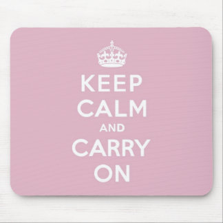 Keep Calm and Carry On Persian Rose Mouse Pad