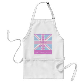 Keep Calm and Carry On Pink and Blue Union Jack Standard Apron