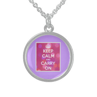 Keep Calm and Carry On Pink Bokeh Sterling Silver Necklaces