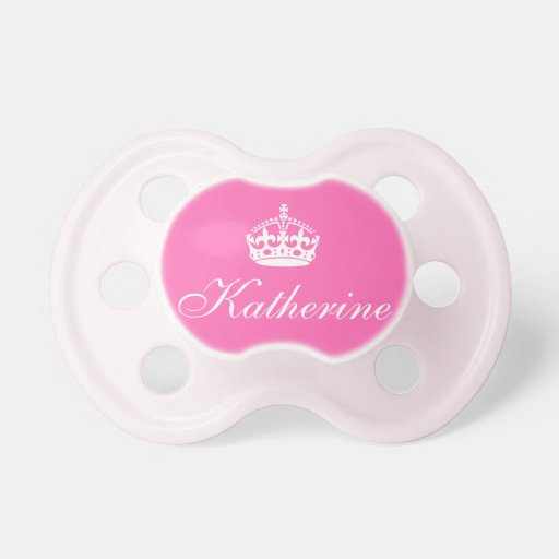 Keep Calm and Carry On Pink Crown on White Pacifiers