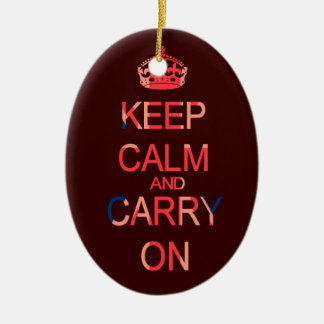 Keep calm and carry on pink ornament