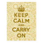 Keep Calm And Carry On Post Card
