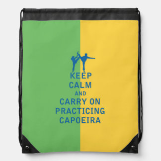 Keep Calm and Carry On Practicing Capoeira Drawstring Bag