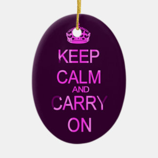 Keep calm and carry on purple ornament