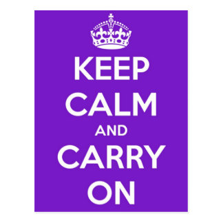 Keep Calm and Carry On Purple Postcard