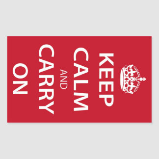 Keep Calm And Carry On Rectangular Stickers
