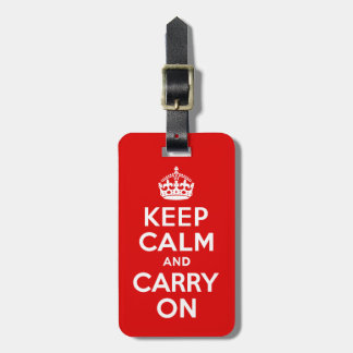 Keep Calm And Carry On Red And White Luggage Tag