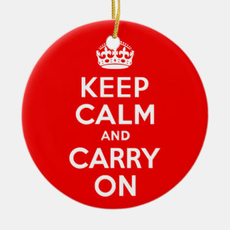 Keep Calm and Carry On Red Christmas Ornament