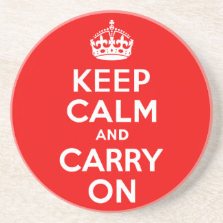 Keep Calm and Carry On Red Coasters