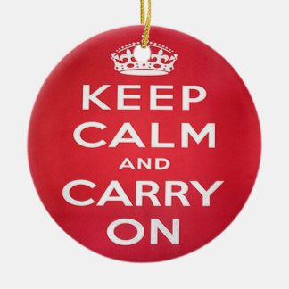 Keep Calm and Carry On Round Ceramic Decoration