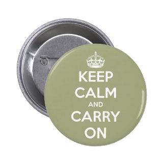 Keep Calm and Carry On Sage Green 6 Cm Round Badge