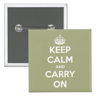 Keep Calm and Carry On Sage Green 15 Cm Square Badge