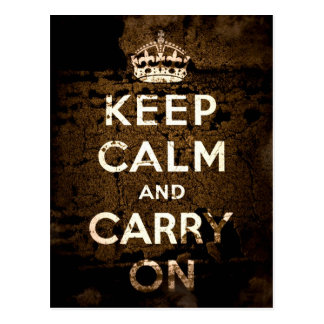 Keep Calm and Carry On Sepia Grunge Postcard