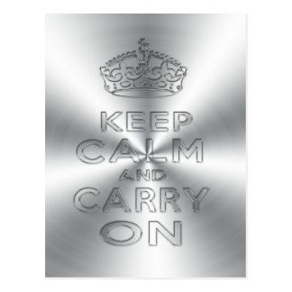 Keep calm and carry on shinning metal craved postcard