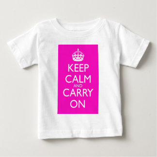 Keep Calm and Carry On Shocking Pink Baby T-Shirt