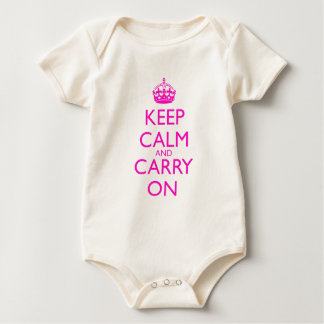 Keep Calm and Carry On Shocking Pink Text Baby Bodysuit