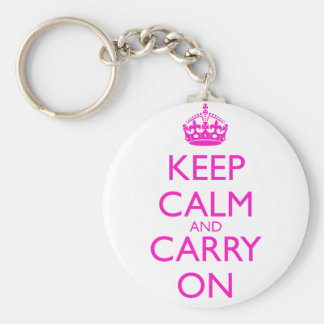 Keep Calm and Carry On Shocking Pink Text Basic Round Button Key Ring