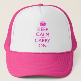 Keep Calm and Carry On Shocking Pink Text Trucker Hat