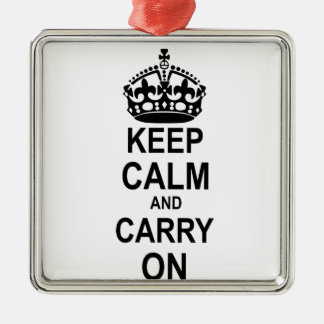 Keep Calm and Carry On Silver-Colored Square Decoration