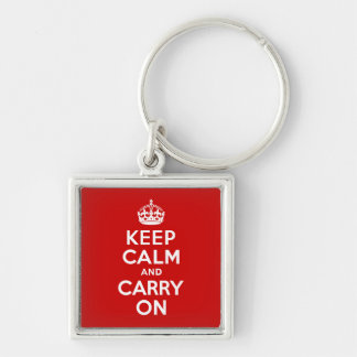Keep Calm And Carry On Silver-Colored Square Key Ring