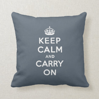 Keep Calm and Carry On Slate Gray with White Text Cushion