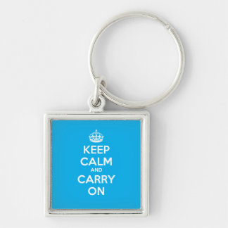 Keep Calm and Carry On Square Keychain - Lt Blue