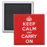 Keep Calm and Carry On Square Magnet