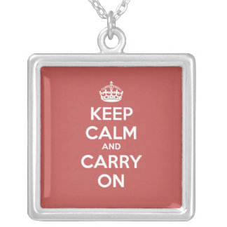 Keep Calm and Carry On Square Necklace - Brick