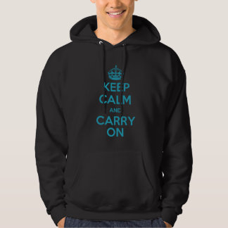 Keep Calm and Carry On (teal) Hoodie