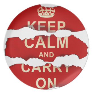 Keep Calm and Carry On Textured Torn Paper Vintage Plates