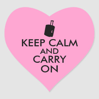 Keep Calm and Carry On Travel Custom Heart Sticker