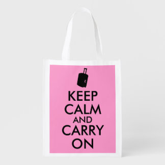 Keep Calm and Carry On Travel Custom Reusable Grocery Bag