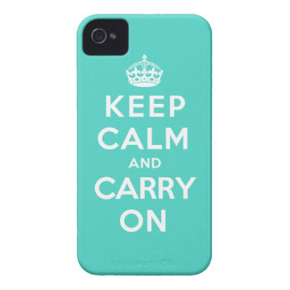 Keep Calm and Carry On - Turquoise Green Case-Mate iPhone 4 Cases