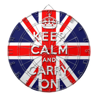 keep calm and carry on Union Jack flag Dartboard